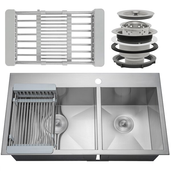 32 x 18 Drop-In Top Mount Stainless Steel Double Bowl 60/40 Kitchen Sink w/ Adjustable Tray and Drain Strainer Kit by AKDY