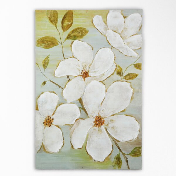 White Blossoms by Nan F Painting Print on Wrapped Canvas by Wexford Home