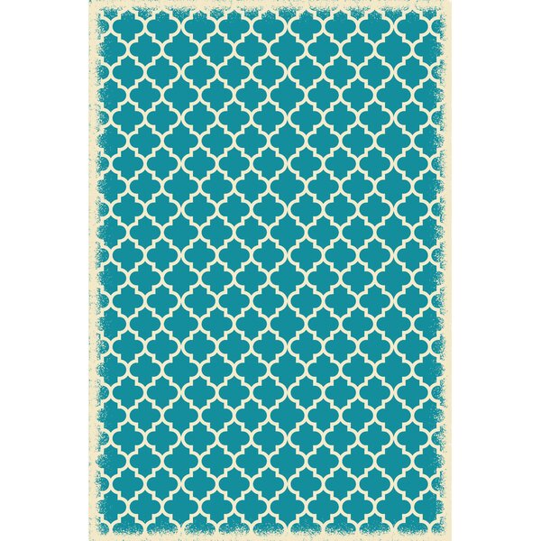 Houck Quaterfoil Teal/White Indoor/Outdoor Area Rug by Charlton Home