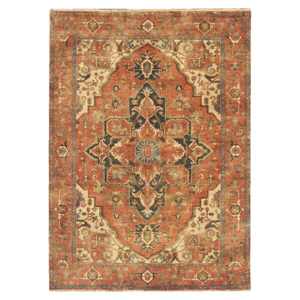 Serapi Hand-Knotted Wool Orange/Beige Area Rug by Exquisite Rugs