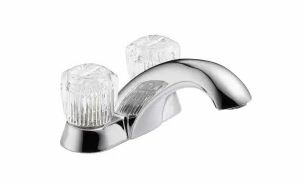 Classic Centerset Bathroom Faucet With Clear Knob Handles By Delta