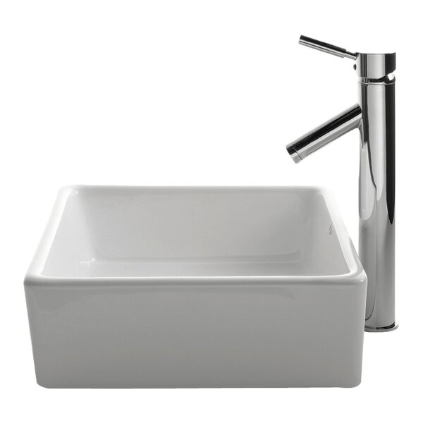 Ceramic Ceramic Square Vessel Bathroom Sink with Faucet by Kraus