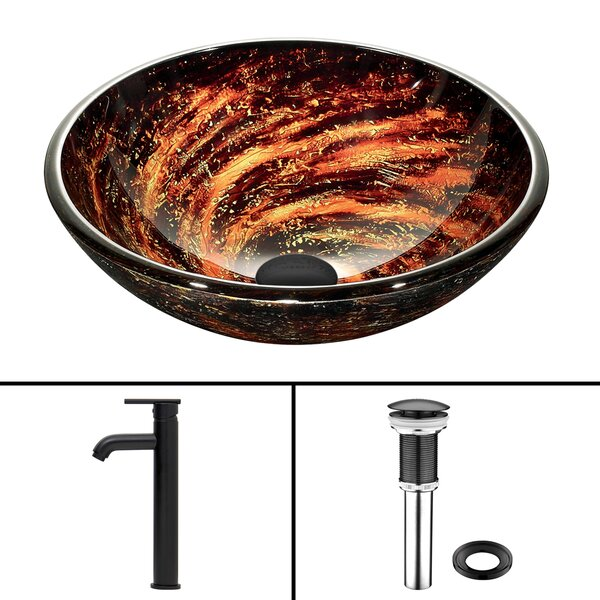 Northern Lights Glass Circular Vessel Bathroom Sink with Faucet by VIGO