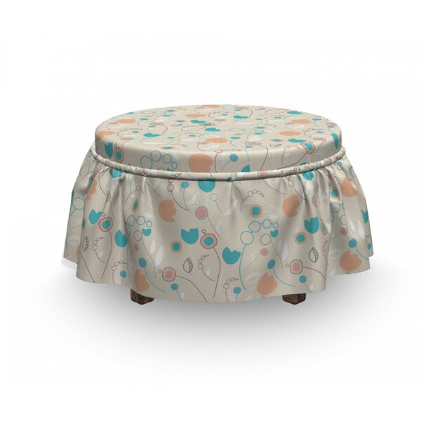Abstract Art Floral Doodle Ottoman Slipcover (Set Of 2) By East Urban Home