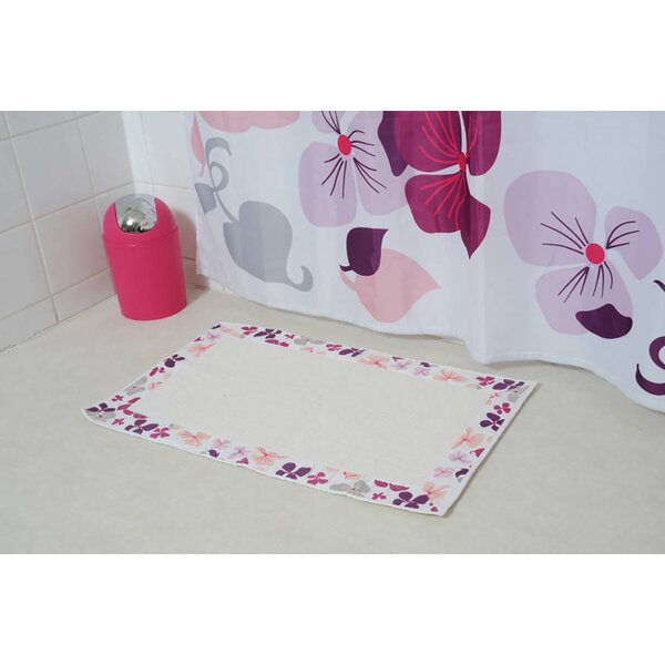 Softies Printed Border Rectangle 100% Cotton Floral Bath Rug