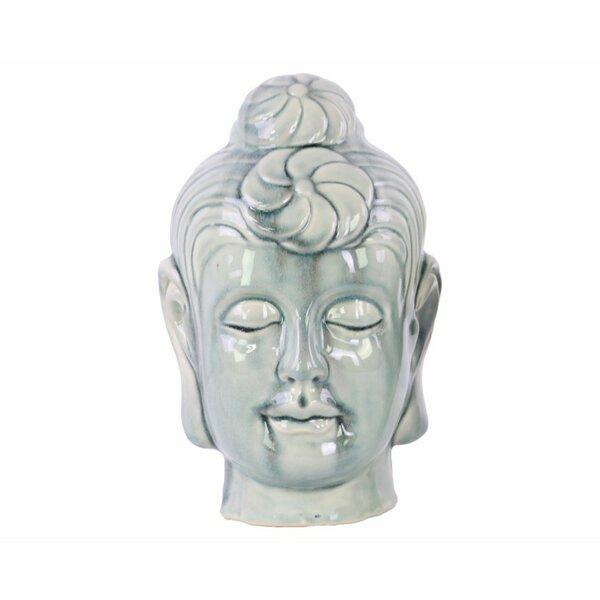 Katlin Serene Buddha Head Ceramic Bust with Bun Ushnisha by Bloomsbury Market