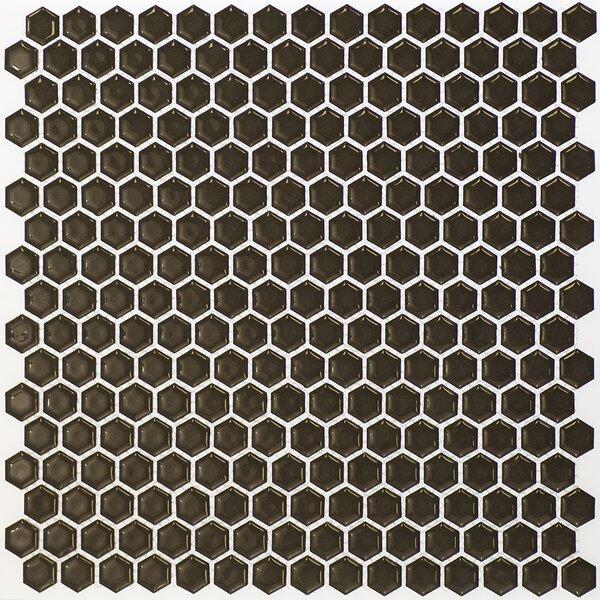 Bliss 0.6 x 0.6 Ceramic Mosaic Tile in Dark Gray by Splashback Tile