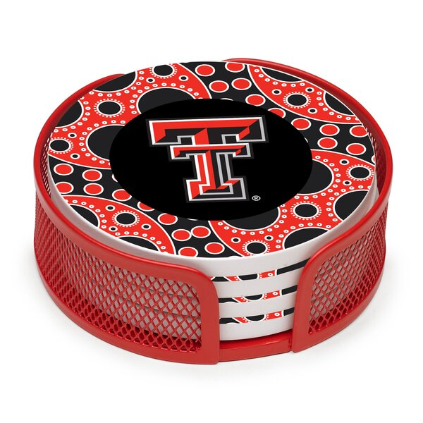 5 Piece Texas Tech University Circles Collegiate Coaster Gift Set by Thirstystone