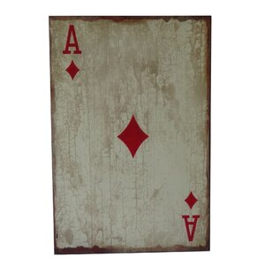 Wooden Ace of Diamonds Graphic Art Plaque by Cheungs