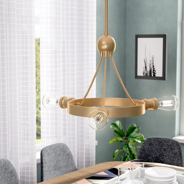 Perlita 3-Light Wagon Wheel Chandelier by Langley Street