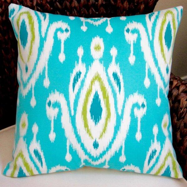 Peacock Modern Geometric Ikat Indoor/Outdoor Throw Pillow (Set of 2) by Artisan Pillows