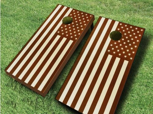 Stained US Flag Cornhole Set by AJJ Cornhole