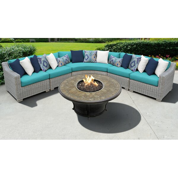 Claire 6 Piece Rattan Sectional Seating Group with Cushions by Rosecliff Heights