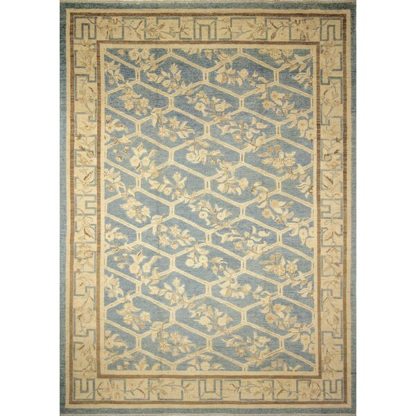 One-of-a-Kind Romona Hand-Knotted Oriental Rectangle Blue Area Rug by Isabelline