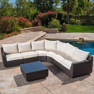 Liverman 7 Piece Outdoor Wicker Sectional Seating Group With Cushions