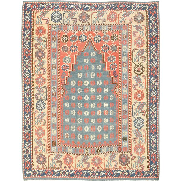 One-of-a-Kind Turkish Hand-Knotted 1900s Green 4'3 x 5'4 Wool Area Rug