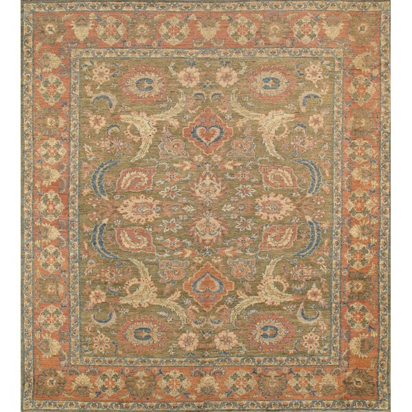 Sultanabad Nomad Art Hand Knotted Wool Olive/Rose Area Rug by Pasargad
