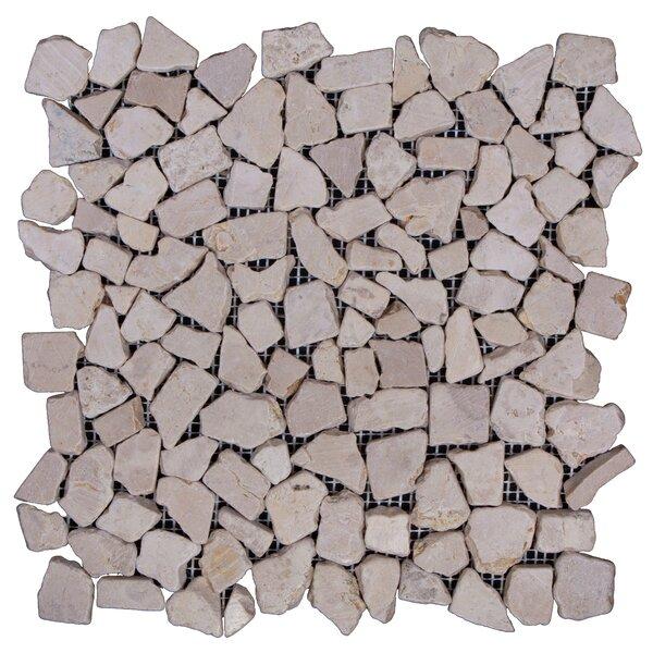 Mini-Fit Random Sized Marble Pebble Tile in Beige by Pebble Tile