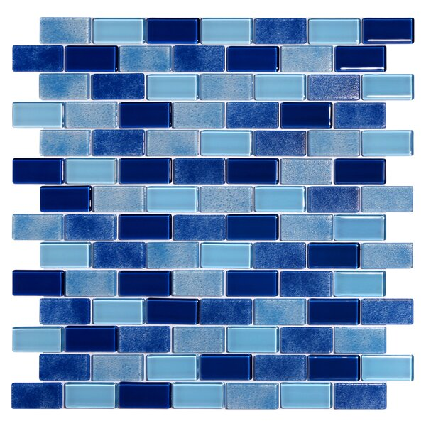 Tides 0.75 x 1.63 Glass Mosaic Tile in High Tide by Kellani