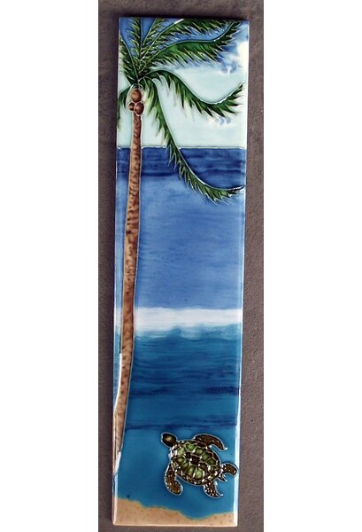 Palm with A Sea Turtle Tile Wall Decor by Continental Art Center