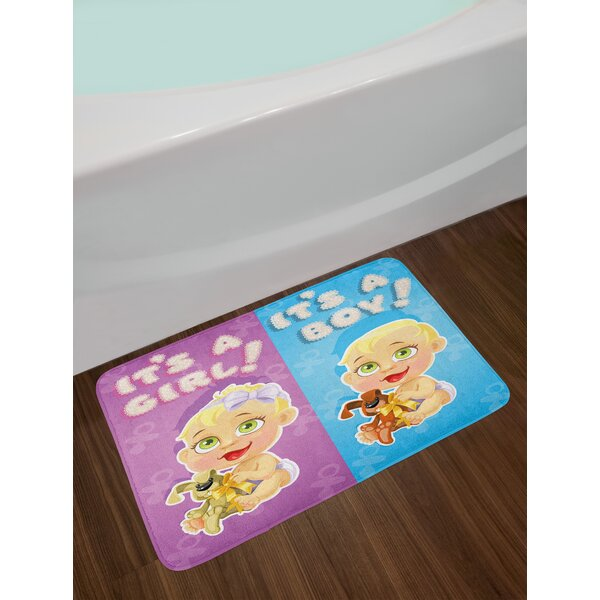 Girl and Baby Gender Reveal Bath Rug by East Urban Home