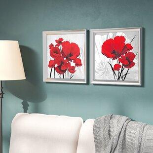 Framed Art For Living Room. Big Red Poppies  2 Piece Framed Graphic Art Print Set Under Glass You ll Love Wayfair