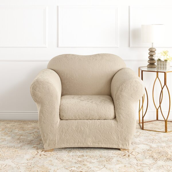 Stretch Jacquard Damask Box Cushion Armchair Slipc