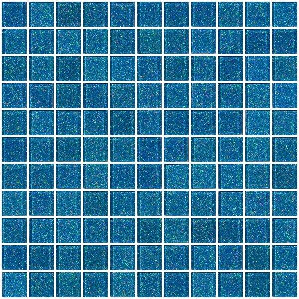 1 x 1 Glass Mosaic Tile in Denim Blue by Susan Jablon