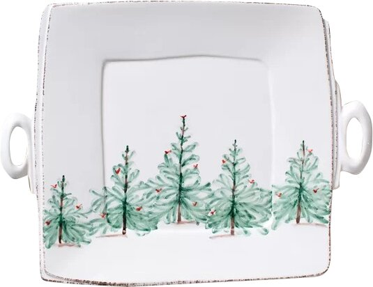Lastra Holiday Handled Square Platter by VIETRI
