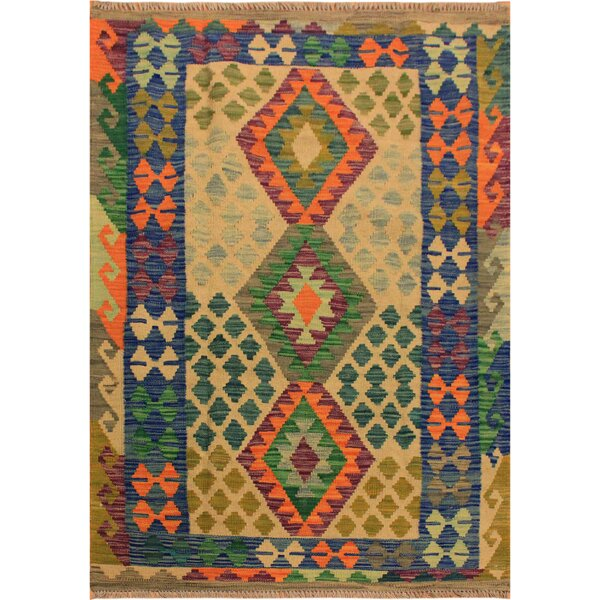 One-of-a-Kind Aalborg Hand-Woven Wool Blue/Green Area Rug by Isabelline