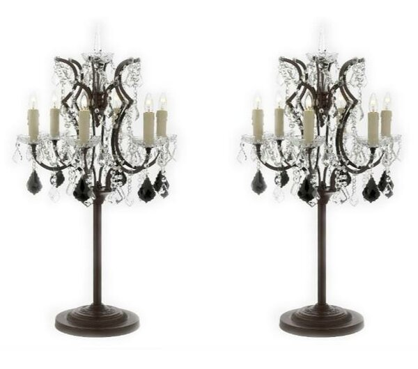 Abraham Rococo Crystal 35 Table Lamp (Set of 2) by Rosdorf Park