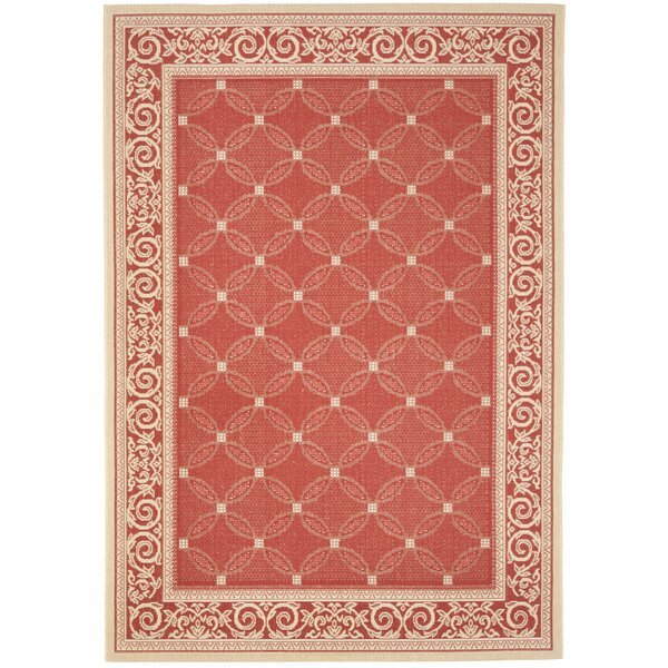 Short Red / Natural Indoor/Outdoor Machine made Rug by Winston Porter