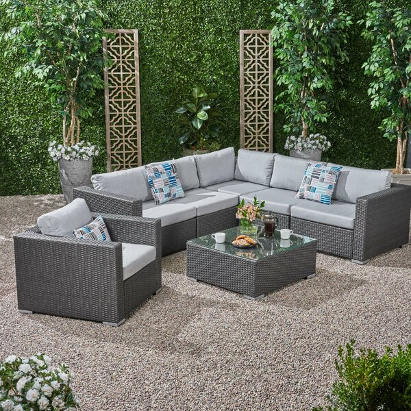 Roxann Outdoor 6 Seater Wicker Sectional Sofa Set with Sunbrella Cushions Brayden Studio W002379358