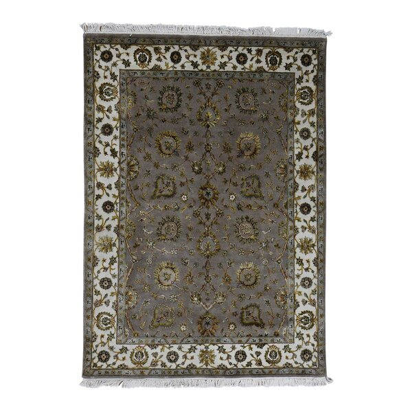 One-of-a-Kind Harjo Half and Half Rajasthan Oriental Hand-Knotted Silk Gray Area Rug by World Menagerie
