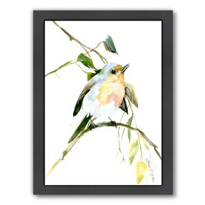 Singing Bird, Robin Framed Painting Print by East Urban Home