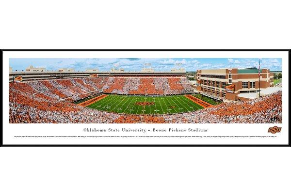 NCAA Oklahoma State Football Stripe Game Framed Photographic Print by Blakeway Worldwide Panoramas, Inc