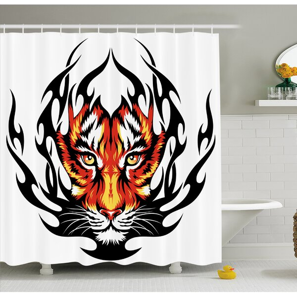 Tattoo Jungles Prince Tigers Head in Flames Frame looking with Cat Eyes Shower Curtain Set by Ambesonne