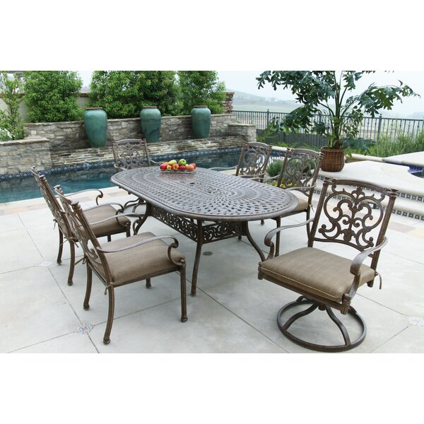 Palazzo Sasso 7 Piece Dining Set with Cushions by Astoria Grand