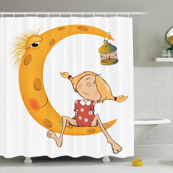 Teen Sitting on the Moon Shower Curtain Set by Ambesonne