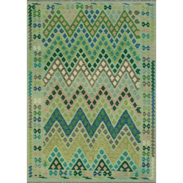 Corda Hand-Knotted Wool Dark Green Area Rug by Bungalow Rose