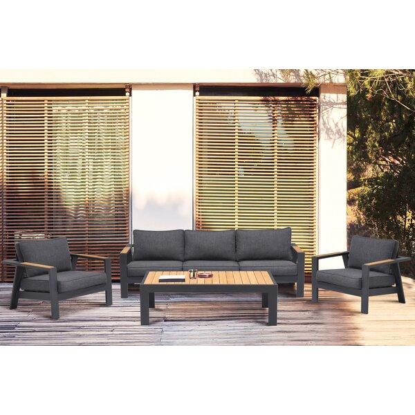 Aloyzas Outdoor 4 Piece Teak Sofa Seating Group with Cushions by Latitude Run
