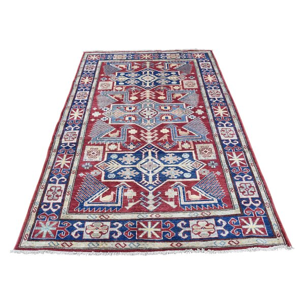 One-of-a-Kind Espada Super Tribal Oriental Hand-Knotted Red Area Rug by Millwood Pines