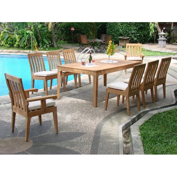 Michigan Luxurious 9 Piece Teak Dining Set by Rosecliff Heights