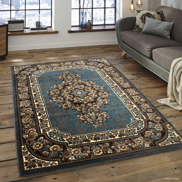 Arkin High-Quality Floral Double Shot Drop-Stitch Carving Light Blue Area Rug by Astoria Grand