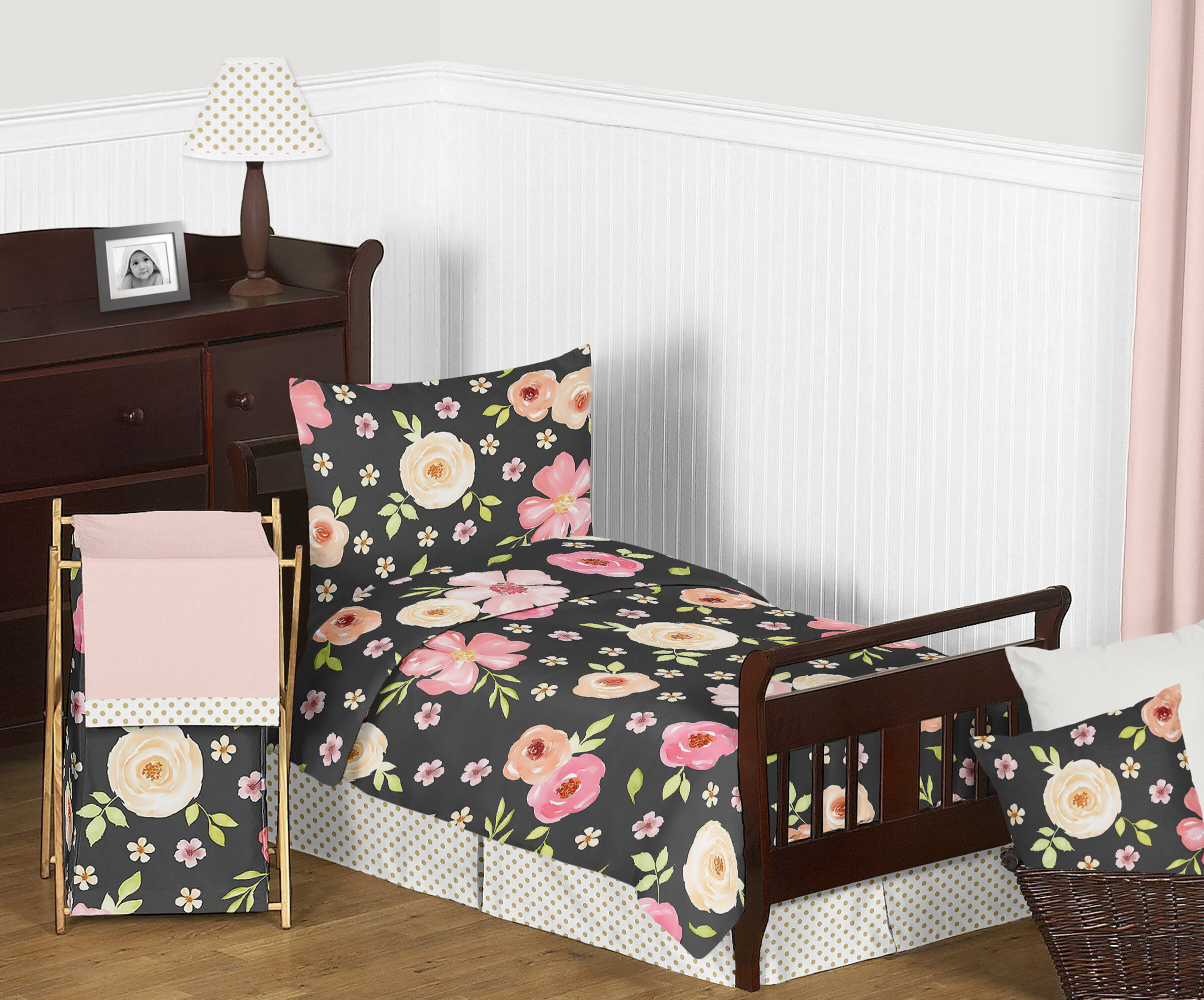 competitive price fa846 6aeae Watercolor Floral 5 Piece Toddler Bedding Set