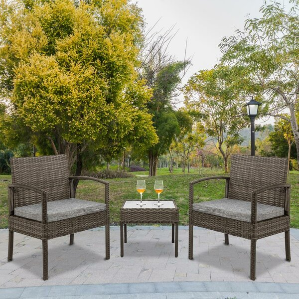 Abston 3 Piece Dining Set with Cushions by Breakwater Bay