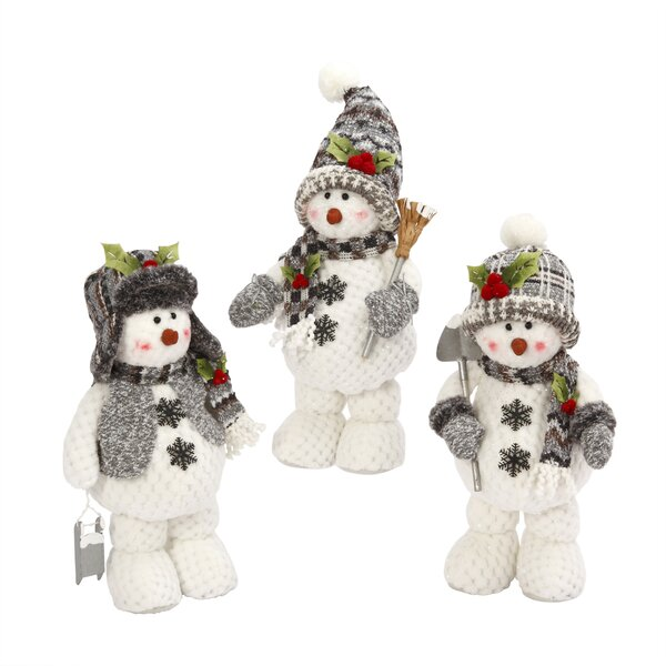 3 Piece Plush Snowmen Figurine Set by Gerson International
