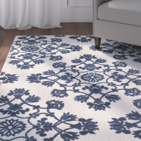 Rome Light Gray/Royal Blue Indoor/Outdoor Area Rug by Three Posts