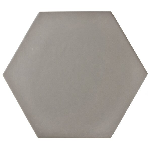 Hexitile 7 x 8 Porcelain Field Tile in Matte Gray