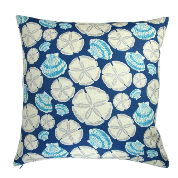 Louisa Sand Dollar in Indigo Indoor/Outdoor Pillow by Rosecliff Heights